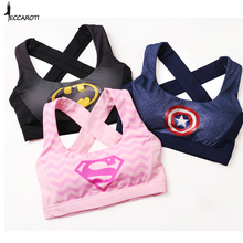 new Sexy  Women's Elastic Supergirl Sports Bra Shirts Superman Women Running Underwear Padded Bra Color Rush Tank Tops