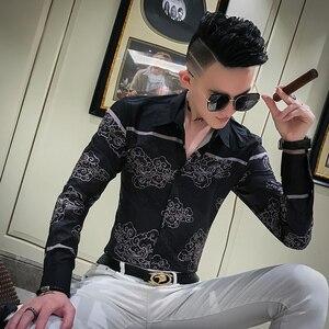 Image 3 - Autumn New Dress Shirt Men Streetwear Patchwork Color Mens Casual Shirts Slim Fit Casual Print Shirts For Men Clothes 2019 3XL M