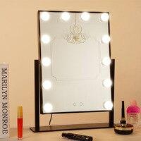 LED 12 Bulb Mirror Portable Princess Mirror Beauty Mirror Vanity Light 3 Color Makeup Mirror Adjustable Touch Screen