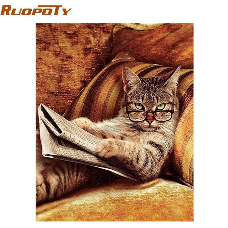 RUOPOTY gato animales DIY pintura por números pintura al óleo pintada a mano moderna pintura arte de la pared envío de la gota pintura por números regalo