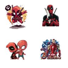 Hot Cartoon Anime Super Heros Deadpool Patch for clothing iron on patches Diy child boys T-shirt thermal transfer sticker(China)