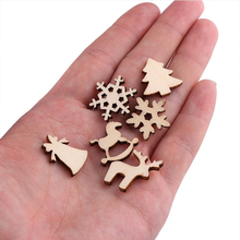 100pcs Natural Wooden DIY Christmas Tree Hanging Ornaments Pendant Gifts Tree Snow Flakes Table Bottle DTY Decoration