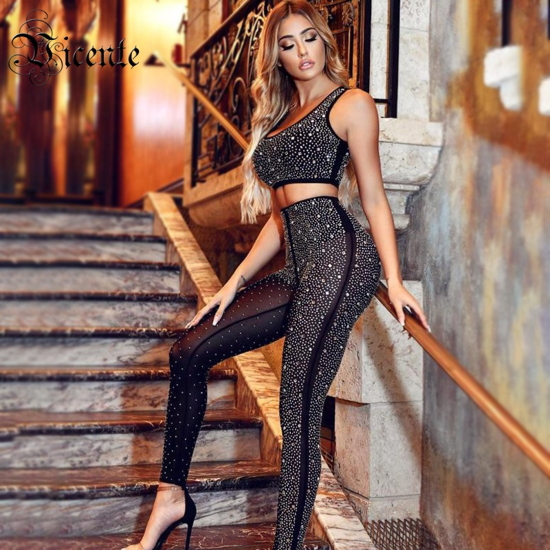 Vicente HOT Trendy Beads Two Pieces 2019 New Sexy Sleeveless Wholesale Celebrity Party Bandage Black Pants