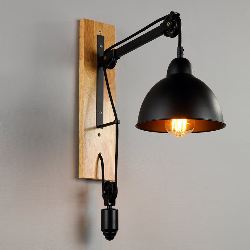 Vintage Industrial Lift Pulley Wall Lamp Retro Loft LED Wall Light Creative Iron Sconce Abajur Lights for Bedside Living Room new arrival hand made retro iron geometric vintage metal wall lamp lights for bedroom living room decorate led wall light