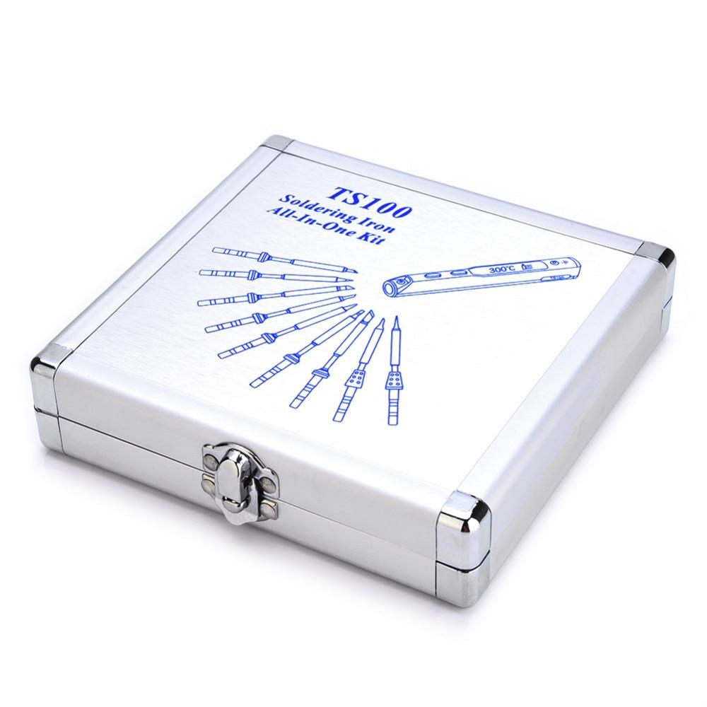 Aluminium Package Box Dedicated TS100 Mini Programmable Smart Digital LCD Adjustable Temperature Electric Soldering Iron