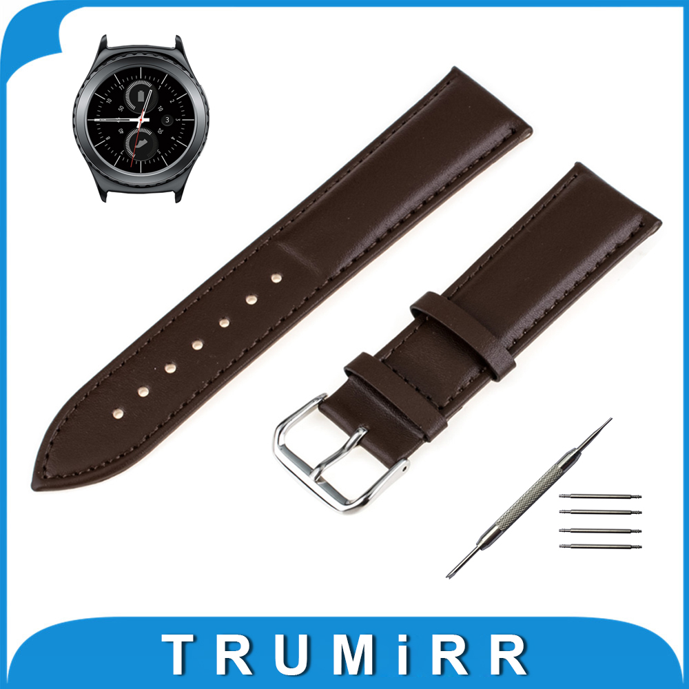 20mm Genuine Leather Watchband for Samsung Gear S2 Classic SM-R732 / SM-R735 Smart Watch Band Wrist Strap Bracelet Black Brown стоимость