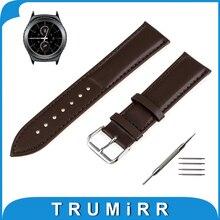 20mm correa de piel genuina para samsung gear s2 classic sm-r732/sm-r735 inteligente correa de reloj pulsera de la pulsera negro marrón