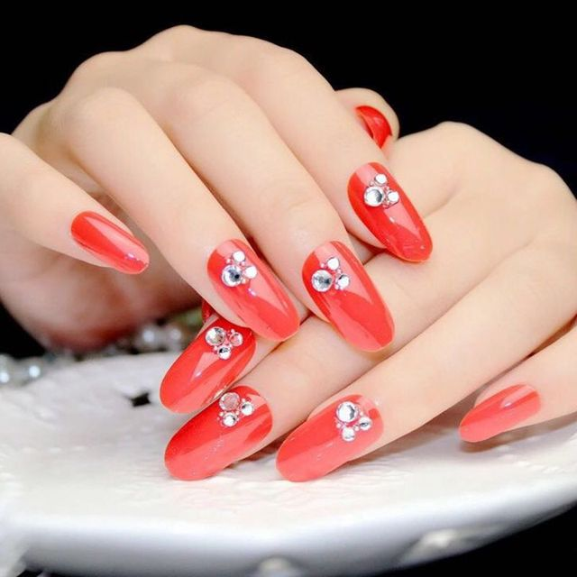 Red false nails tips oval fake nails 3d rhinestones nail art red false nails tips oval fake nails 3d rhinestones nail art dating must with glue sticker prinsesfo Choice Image