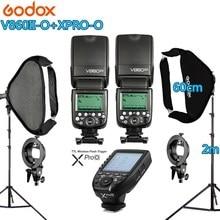 цена на Photo Studio Kit 2X Godox V860IIC/N/S Flash +XPRO-O/C/N/F/S Trigger +2 Light Stand +2 Softbox Photography Accessories for Camera