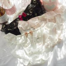 Новое поступление, милые сексуальные трусики в стиле Лолиты и принцессы каваи с золотым принтом и рюшами, нижнее белье, короткие стринги женские трусики WP579