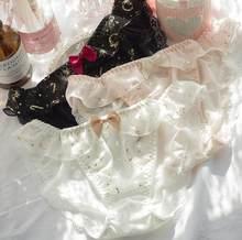 2nd frete grátis m l xl adorável bonito lolita kawaii princesa sexy impressão de ouro plissado calcinha cueca breve calcinha tanga