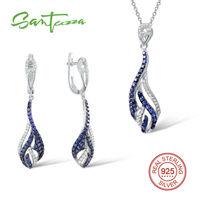 Conjuntos de jóias Para As Mulheres Safira Criado Diamante CZ Conjunto de Jóias Brincos de Pingente de Definir 925 Conjunto de Jóias de Prata Esterlina