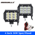 "2x 36W 4"" LED Work Light 3-Row 6D Cree Chips Spot/Flood Beam Car LED Light Bar 4x4 4WD Offroad ATV SUV Truck Boat Pickup UTV"