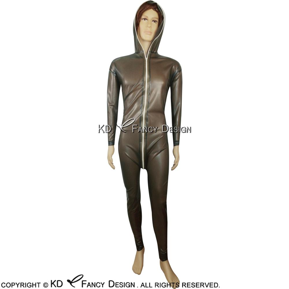 Transparent Black Sexy Latex Catsuit With hoodies Front Zipper Rubber Bodysuit Overall Zentai Body Suit LTY-0031