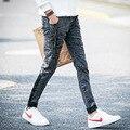 Caída de 2016 párrafos de los copos de nieve gris stretch jeans hombres de cultiva su moralidad pies de pantalones delgados pantalones de los adolescentes