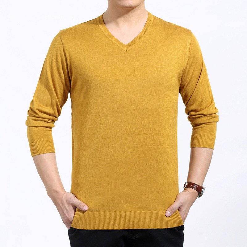 Брендовая новая мужская одежда зимний свитер с v-образным вырезом вязаный размер свободный пуловер Мужской пуловер плюс размер свитер бренд - Цвет: yellow