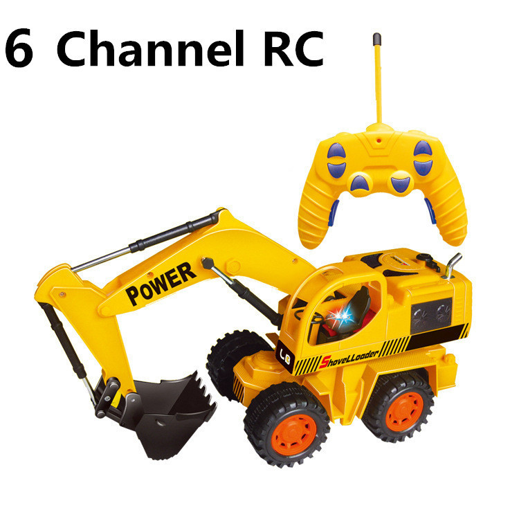 Electric toys,1:24 Wireless Excavator , 6 channel remote control, excavator truck,RC cars, free shipping