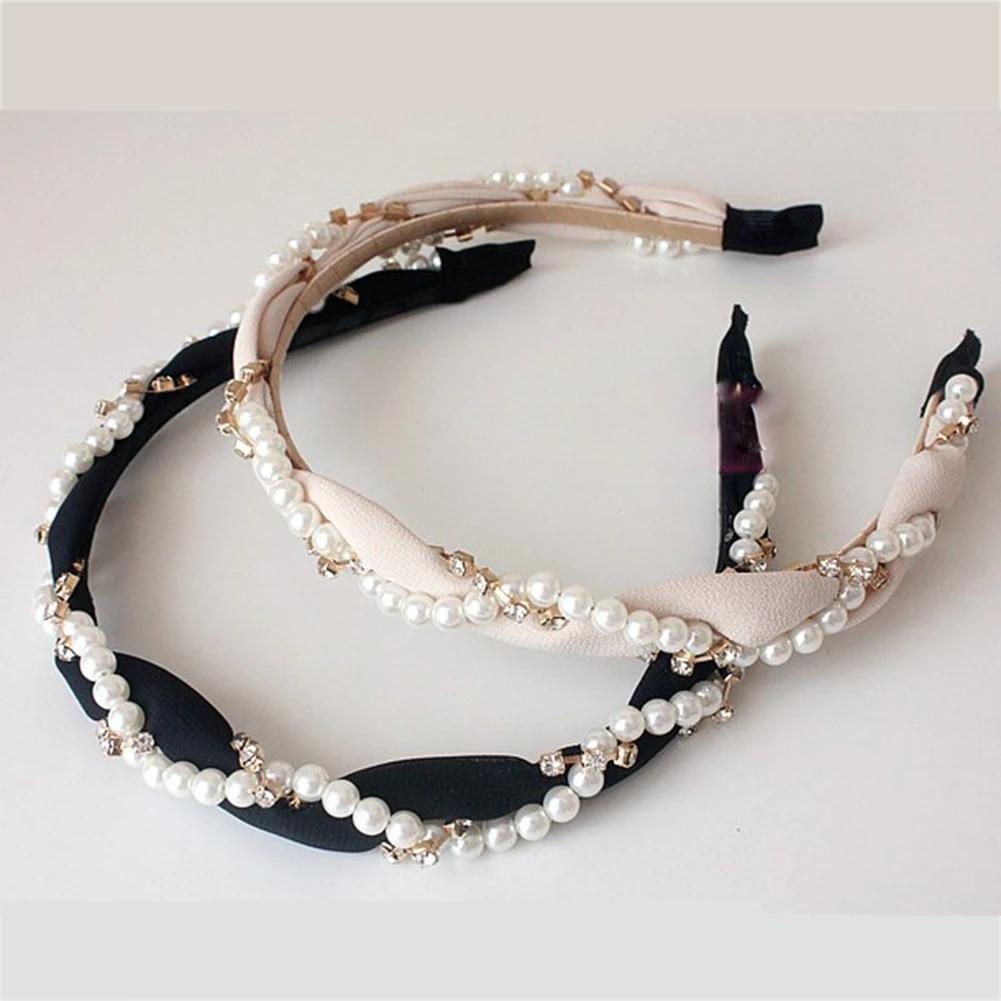 Rhinestone Pearl Headband Wool Hair Bands Hair Accessories Hair Hoop Bezel Women