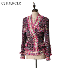 High Quality Autumn Winter Tweed Jacket Coat Women Vintage Long Sleeve V Neck Pearl Slim Female Outerwear