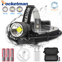 120000 Lumen XHP-70.2 led phare pêche Camping phare haute puissance lanterne lampe frontale Zoomable USB Torches lampe de poche 18650