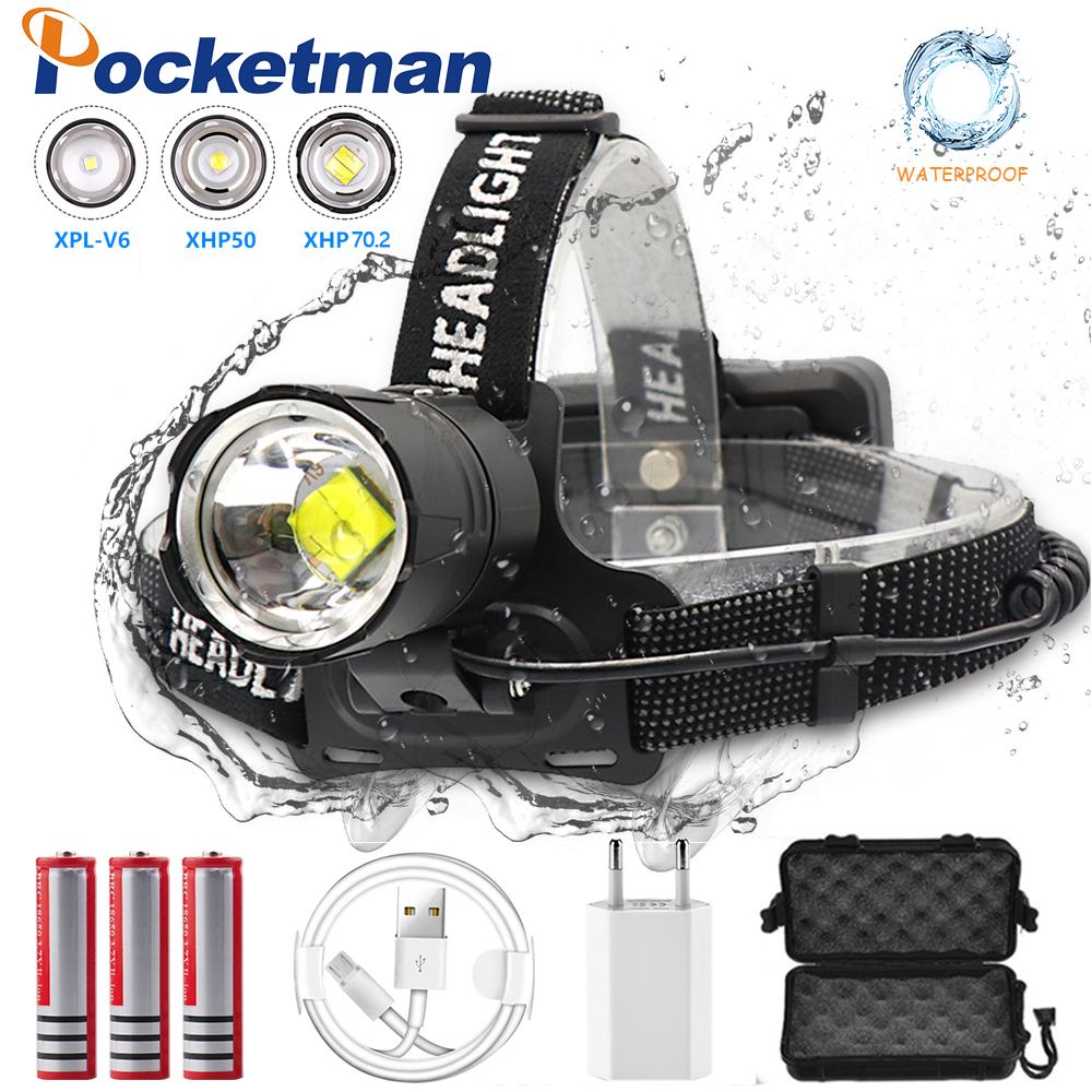7000 Lumen XHP-70.2 led Koplamp Vissen Camping koplamp High Power lantern Head Lamp Zoomable USB Fakkels Zaklamp 18650