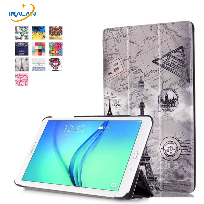 2018 hot Magnet Stand print PU Leather case for samsung galaxy tab E 9.6 T560 T561 tablet folio business cover + film + stylus