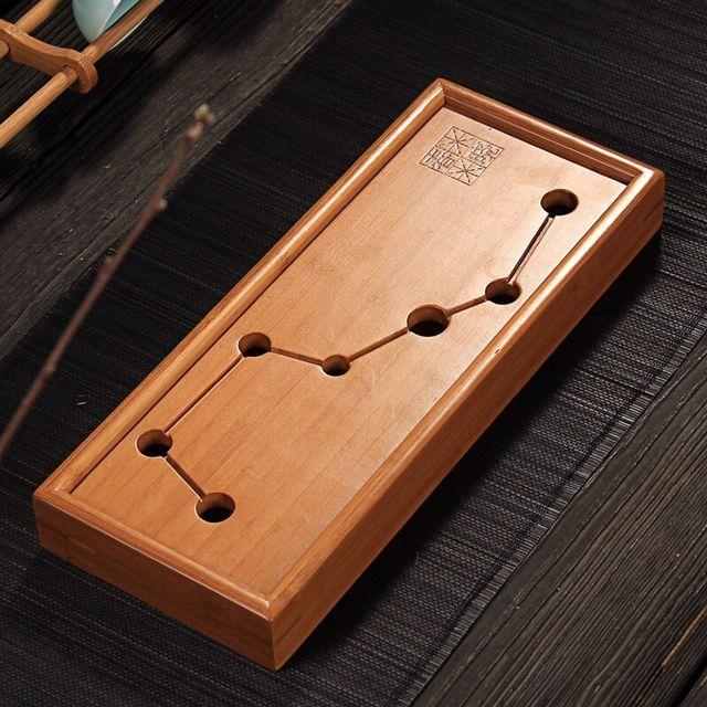 1PC Seven Star Kung Fu Tea Set Natural Bamboo Tea Tray Rectangular Traditional Bamboo Puer Tea Tray Chahai Tea Table MF 026