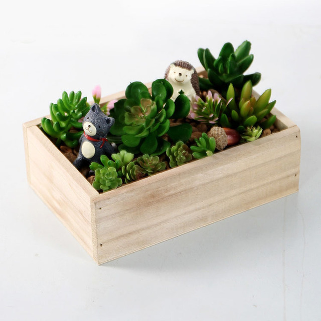 Retro Rectangle Wooden Succulent Plants Storage Box Household Garden