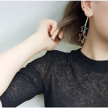 SUKI Korean Fashion Copper Earrings Jewelry Long Tassel Female Simple Sen Department of Big Star