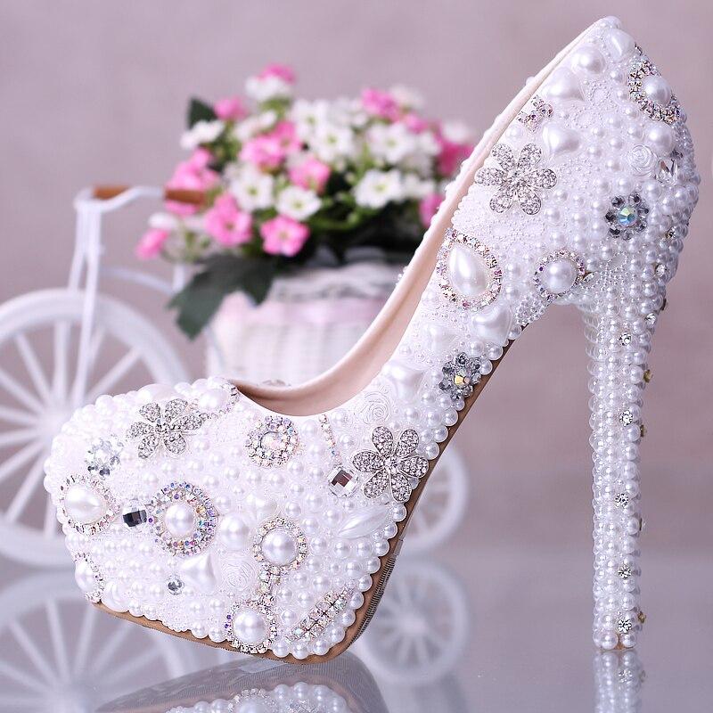 a4e7fc603b4c women The noble pearl Rhinestone flower crystal wedding bride waterproof  high-heeled shoes white