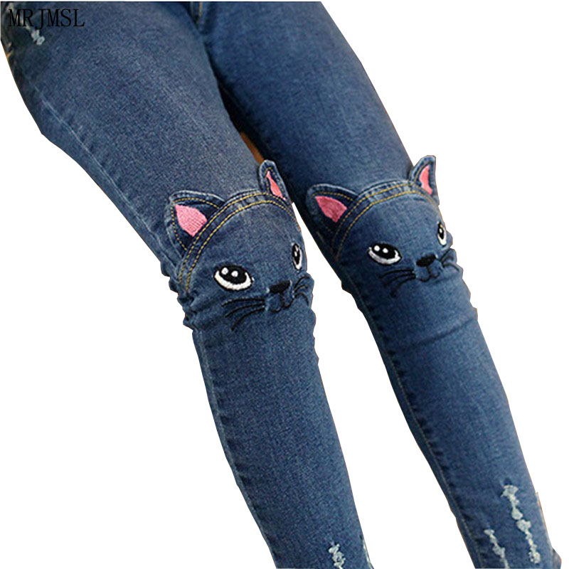MRJMSL Girls Leggings Fashion Cartoon Cat Girls Jeans Pants Autumn Children Pencil Pants Kids Trousers Pantalon Fillette 2017