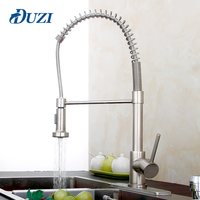 DUZI Brushed Nickel Kitchen Faucet Pull Out Water Tap Rotate Swivel Kitchen Mixer Sink Taps Hole