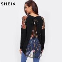SHEIN Lace Shoulder Bow Overlap Back Tee Long Sleeve T Shirt Women Black 2017 New Fashion