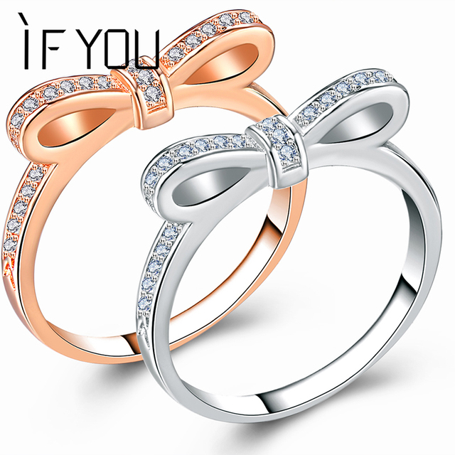 IF YOU Rose Gold Color Bowknot Rings For Women High Quality Fashion Crystal Love