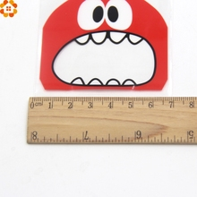 50PCS 7X7CM 3Colors Cute Cartoon Monster Cookie&Candy Self-Adhesive Plastic Bags
