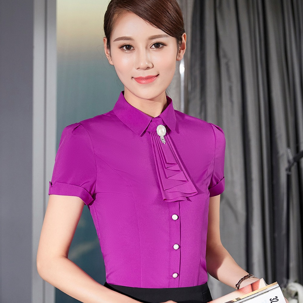 New Ladies Office Summer Wear Shirts 2018 Work Women Tops Short