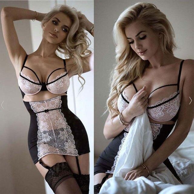 Sexy Lace Solid Lingerie Women G-string Hot Erotic Babydoll Sleepwear Robe Sexy Underwear Dress Sex Costumes XXXL Plus Size Porn 1