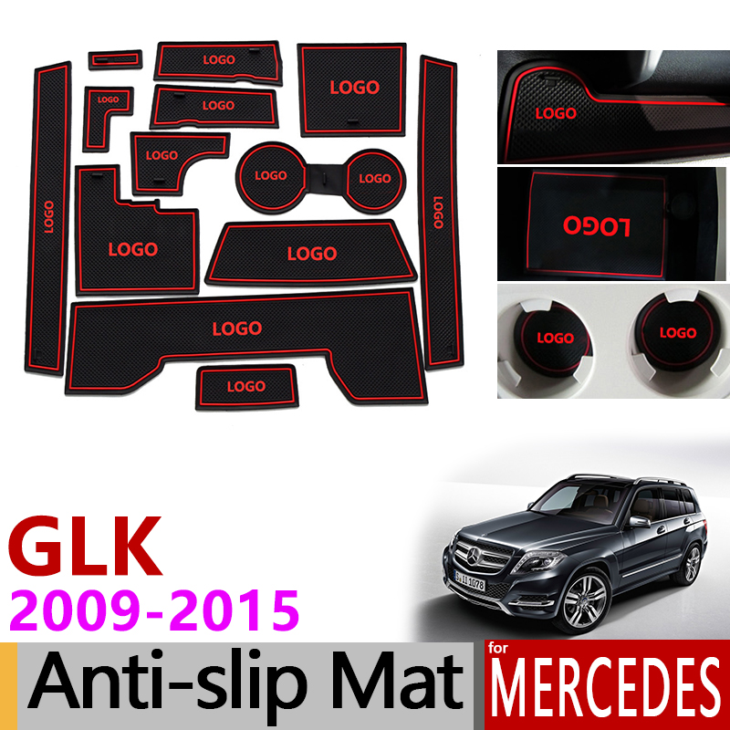 Anti Slip Gate Slot Mat Rubber Coaster for Mercedes Benz GLK Class x204 2009 2015 Accessories Sticker 200 220 250 300 350 2013