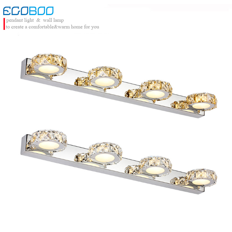 Modern Lighting12W 62CM Round LED mirror Crystal Lights Indoor Wall mounted Lamp sconce for home