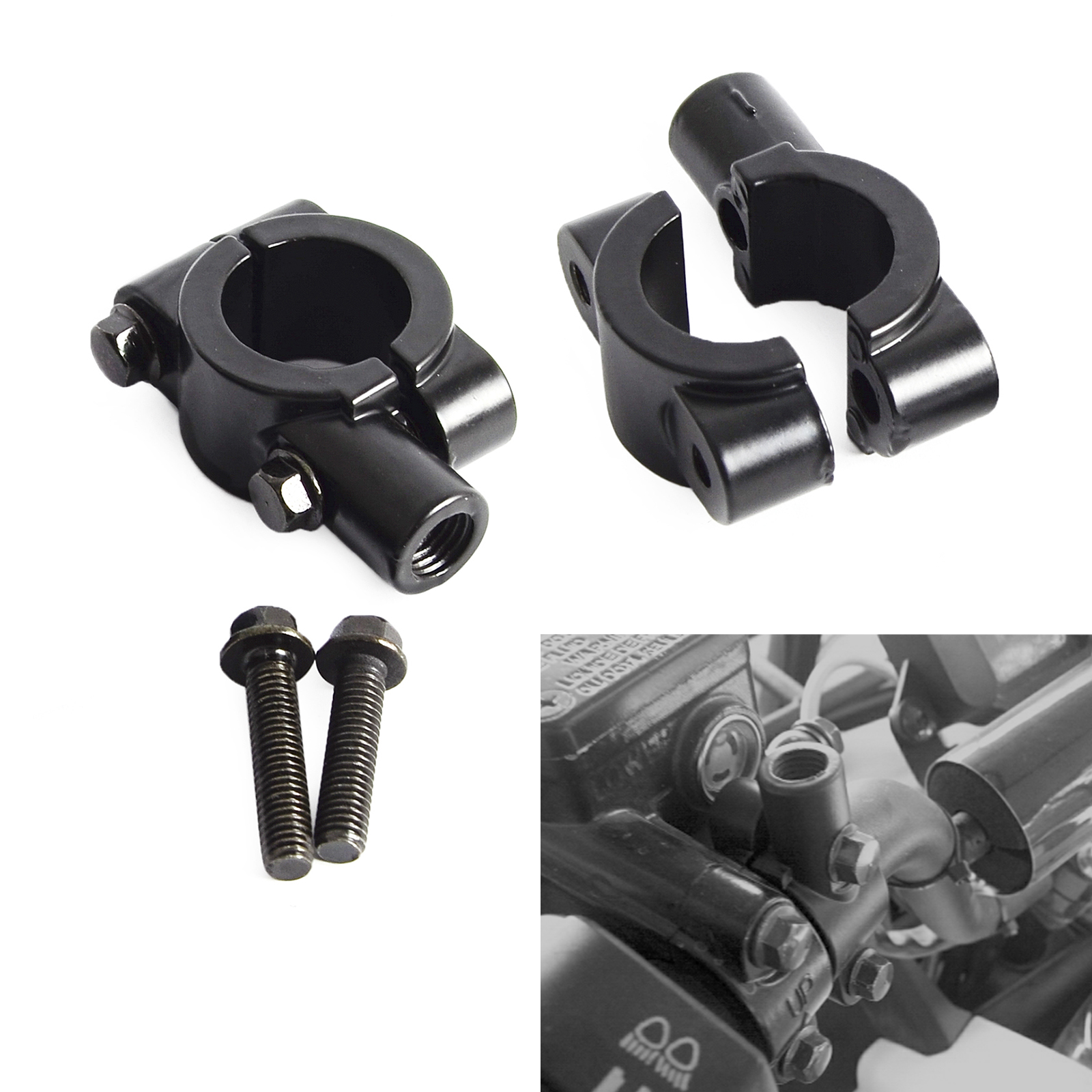 "Moto 7/8 ""(22mm) Manubrio Specchio Holder Mount Morsetto Adattatore 8/10 MM Discussione Per Honda Yamaha Harley KTM Suzuki ATV Scooter"