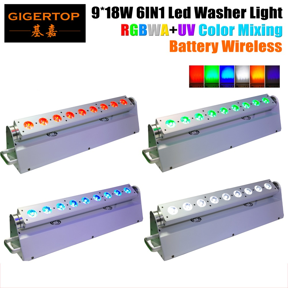 TIPTOP 4XLOT Smart RGBWA UV 6IN1 Battery Operated Wireless DMX Controlled LED wash light 9*18W Leds White Housing for Disco Club