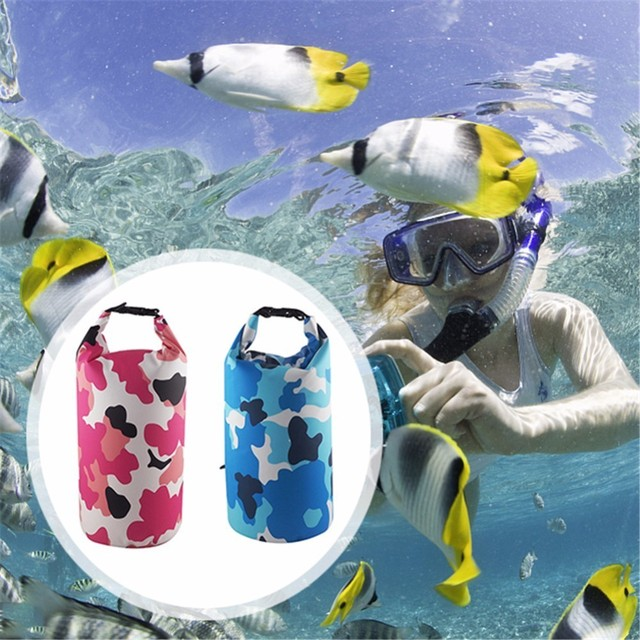 Outdoor Bag Camouflage Portable Rafting Diving Dry Bag PVC Waterproof Swimming Storage Bag for River Trekking 2L/5L/10L/15L/20L