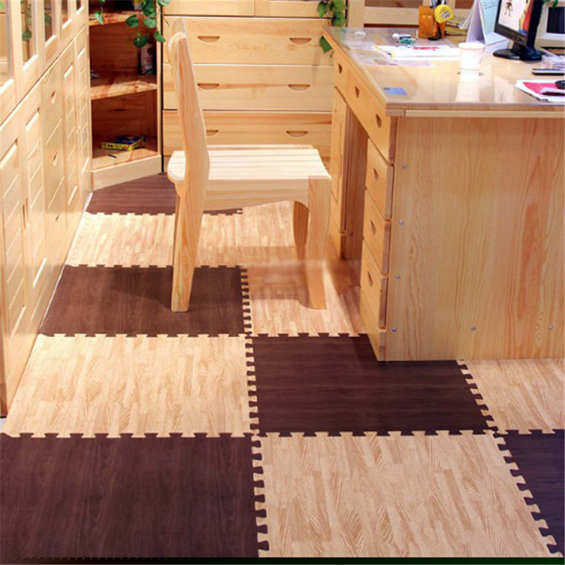 wood grain ground soft eva puzzle crawling pad foam floor mat waterproof rug for child kids baby bedroom gym 30301cm baby bath in play mats from toys - Puzzle Wood Flooring