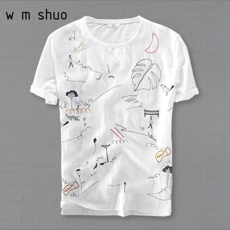 Cotton Linen Stitching Short Sleeve T-shirt Men Casual Loose T shirt Cartoon Embroidery Tshirt Y578