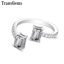 TransGems Moissanite Ladies Ring 14K White Gold 4X6mm Emerald Cut F Color Moissnaite Engagement Ring for Women with Accents