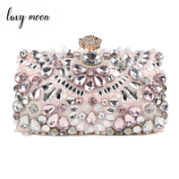 2018 Luxy Moon Rhinestone Evening Bags diamond clutches Pearls Beaded Day Clutch Purse Handbags Wallet Evening Wedding Bag ZD848