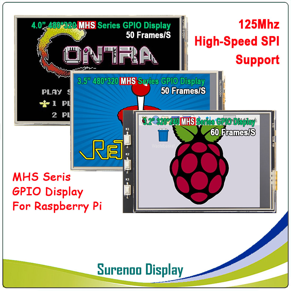 3.2 / <font><b>3.5</b></font> / 4.0 inch MHS TFT GPIO LCD Module Screen <font><b>Display</b></font> with Touch Panel Support 125MHz SPI Input for <font><b>Raspberry</b></font> <font><b>Pi</b></font> image