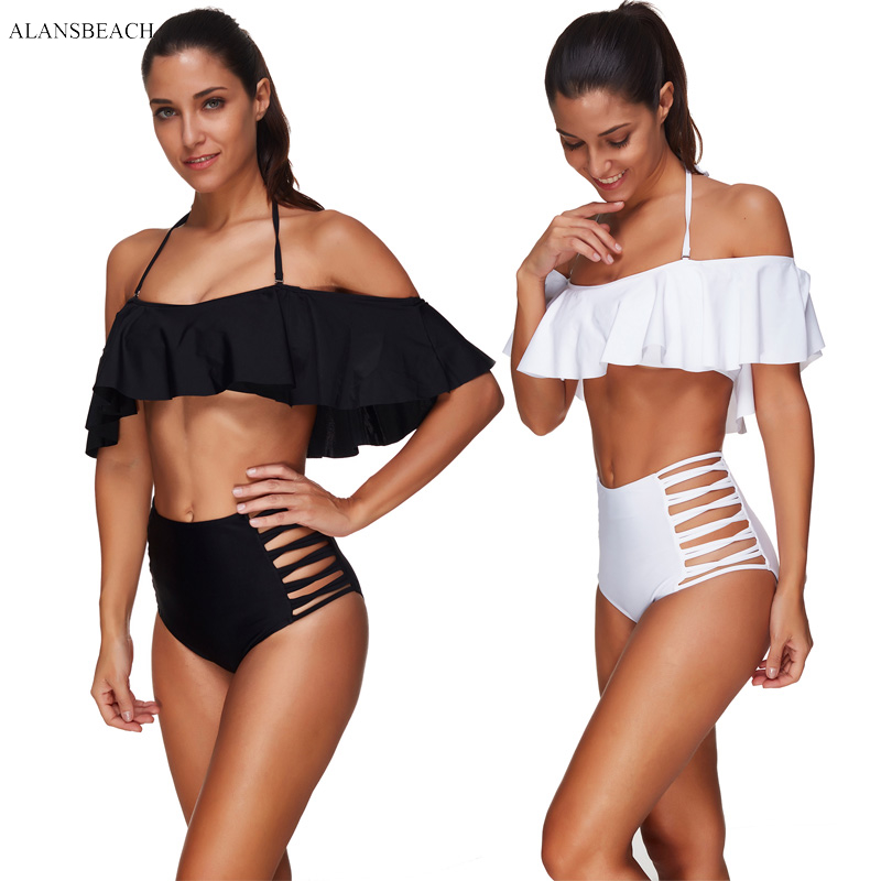 ALANSBEACH High Waist Bikini Ruffle Bikini Sets Bandeau Swimsuits Wire Free Bathing Suits 2018 maillot de bain AB00371