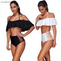 ALANSBEACH High Waist Bikini Ruffle Bikini Sets Bandeau Swimsuits Wire Free Bathing Suits 2018 Maillot De