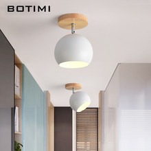 BOTIMI Nordic LED Ceiling Lights For Corridor Modern Wooden E27 White Pink Yellow Gray Green Metal Lampshade Porch Ceiling Lamp(China)